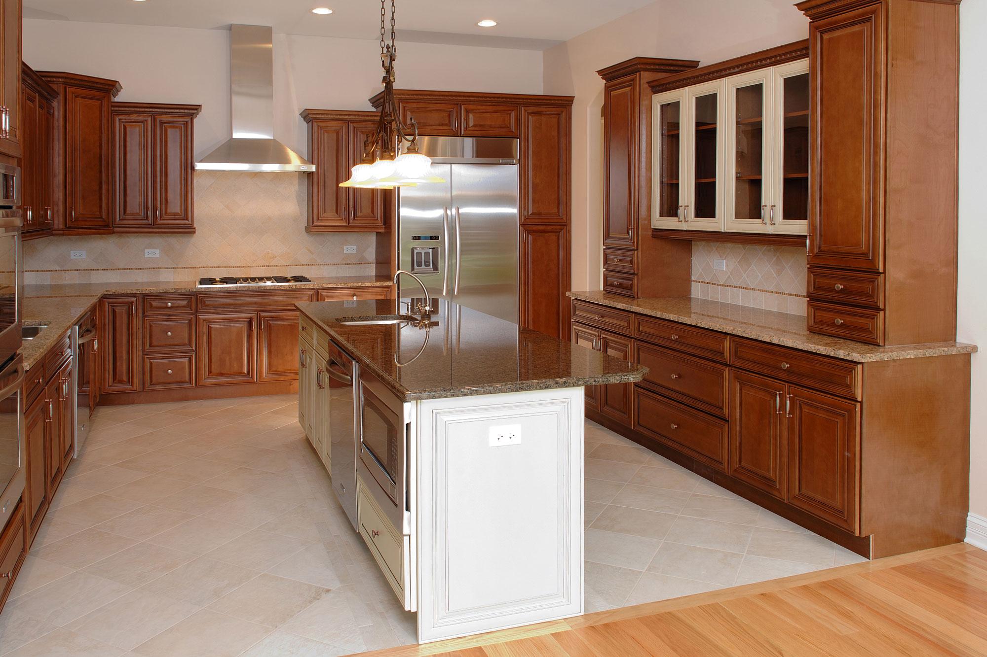 White Kitchen Cabinets And Cherry Island Pony